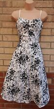 APRICOT WHITE BLACK FLORAL STRAPPY SUPER FLIPPY ROCKABILLY 50 SKATER DRESS S