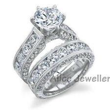2.5CT 10K White Gold Plated White CZ Wedding Band Engagement Ring Sets Size 8