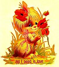 Vintage 1981 All I Need Is Love Dog Iron-On Transfer Dogs Beatles Song Rare!