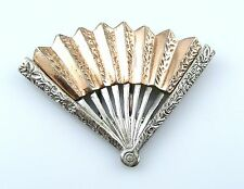 BIG Vintage 1940s Nettie Rosenstein Sterling & Rose Gold FAN Dress Fur CLIP PIN