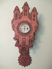 Antique GOTHIC wall clock BLACK FOREST - FRET WORK rosewood / bird's eye maple
