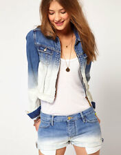 MAISON SCOTCH BLEACH DIP DYE OMBRE DENIM ZIP JACKET 2 S 8 10 4 6 36 38 £145!