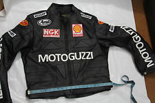 Mens Black Moto Guzzi white Logo Motorcycle Racing Biker Leather Jacket XS 6XL