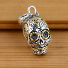 S41 skull 925 Sterling Silver pendant charm jewelry DIY accessory