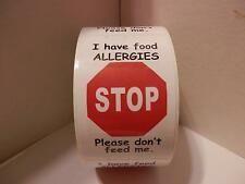 50 STOP I HAVE FOOD ALLERGIES PLEASE DON'T FEED ME Warning Stickers Labels