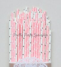 50 Light Pink and Silver Foil Star Straws, Twinkle Twinkle Little Star Shower