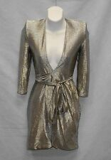 D0 NEW ZHIVAGO Madeleine Ashton Vintage Metallic Wrap Ties Dress Size XS $595