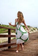 ZARA BASIC Vestito Donna Maxi Dress Boho Chic Bianco Verde-Misto Seta Bandeau S