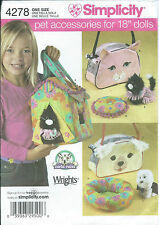 "S 4278 sewing pattern 18"" DOLL sew 3 PET CARRIERS Dog COAT Cat DRESS BED CUSHION"