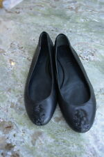 ALEXANDER MCQUEEN Black Leather Flats Scull Rhinestone Toe Accent Size 37 1/2