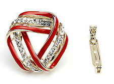 GORGEOUS 18K GOLD PLATED AND GENUINE AUSTRIAN CRYSTAL RED SCARF CLIP OR BROOCH