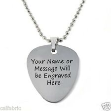 DOUBLE SIDES CUSTOM ENGRAVED PERSONALIZED STAINLESS STEEL GUITAR PICK NECKLACE