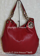MICHAEL KORS MK Fulton Large Shoulder Tote Hobo Bag Leather Purse Cherry $398
