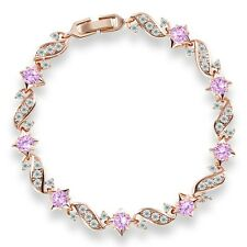 "Gift! 18k gold filled Channel Set white pink Topaz charms chain bracelet 7""13.5g"