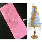 Peacock Fondant Cake Silicone Mold Cupcake Flower Lace Mat Cooking Tools Border