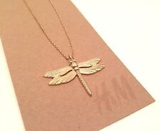 Fashion Necklace H&M Dragonfly Gold Tone 19 inches Chain No Stone Mixed Metals