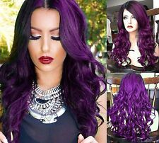 USA // Dark Purple Ombre LACE FRONT & Skin Top HEAT OK Dark Root Wavy Curly Wig