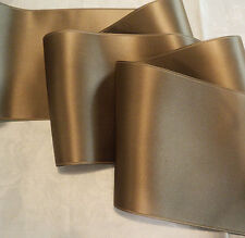 """4"""" WIDE SWISS DOUBLE FACE SATIN RIBBON- SABLE TAN/TAUPE"""