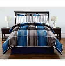 Light Dark Blue Gray White Stripes Plaid Queen 8 piece Comforter Bedding Set Bed