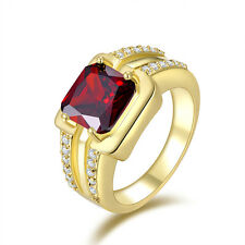 Jewelry Size 12 Red Garnet Halo 10K Gold Filled Fashion Mens Anniversary Rings
