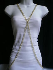 NEW WOMEN FASHION LONG NECKLACE GOLD METAL BODY CHAINS SLAVE JEWELRY