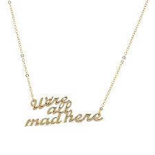 Lux Accessories Gold Tone We're All Mad Here Verbiage Name Plate Necklace