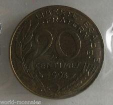 20 centimes marianne 1994 dauphin : TB : pièce de monnaie française