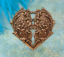 ANTIQUE COPPER Victorian Floral Heart Flower Stampings - Findings (FC-10) `