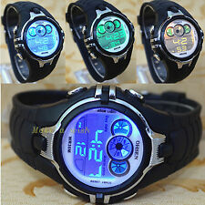 OHSEN 7 Color Funny LED Light Sport Digital Black Boy Child Quartz Watch Watches