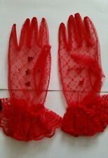 Ladies red Lace Gloves - bridal brides burlesque sassy hen party dressing up