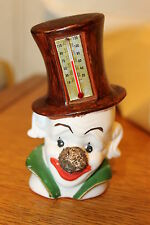 "VINTAGE BISQUE PORCELAIN CLOWN HEAD WITH HAT AND THERMOMETER 4.5"" X 2.5"" X 2"""