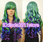 Lolita Long Wavy Purple/Blue Mixed Green Multi-Color Cosplay Synthetic Wig