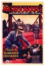 THE MASKED MARVEL Movie POSTER 27x40 William Forrest Louise Currie Johnny Arthur