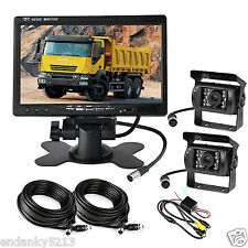7'' Car LCD Monitor + 2Pics CCD Night Vision Rear View Cameras For Truck Bus Van