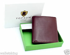 TOPSUM LONDON MENS COMPACT BROWN REAL LEATHER WALLET COIN POCKET ID WINDOW #4010