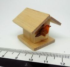 1:12 Scale Wooden Bird House + 1 Bird  Dolls House Miniature Garden Nesting Box