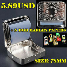1 X 78MM Silver Rolling Machine + 5 X BOB Cigarette Papers Automatic Roller Box