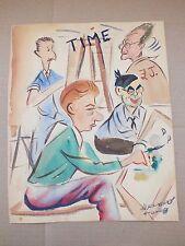 HERRERO 1940s original watercolor painting comic of artists TIME California old