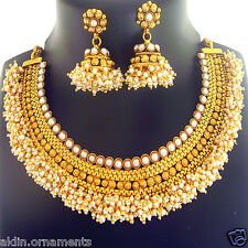 Indian Jewelry Bollywood Necklace Gold Traditional Jumka Earring Set FASHION EDH