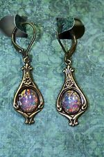 Fires Burning Within Pink Vintage Fire Opal Dangle Earrings Art Deco Harlequin