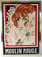 "Completed Needlepoint Moulin Rouge Red Head Woman Framed 16 1/4"" x 22 1/2"" Paris"