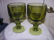 "Vtg Avocado Green Water Goblets Glasses Set of 2 Mid Century 6"" T By 3-3/4"" W"