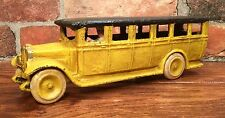Cast Iron Swedish AB Skoglund & Olsen Vintage Yellow Toy Bus with Driver