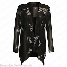 Womens Butterfly Chiffon Long Sleeve Summer Waterfall Zip Cardigan Plus Size