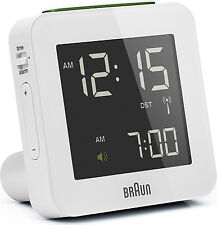 BRAUN Funkwecker alarm clock digital BNC009 weiß radio controlled clock white
