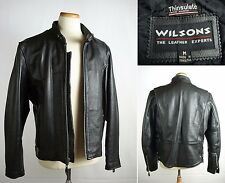 WILSONS Leather Cafe Racer Motorcycle Jacket Coat w/Quilted Thisulate Lining M