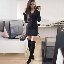 Womens Sexy Casual Ribbed Eyelet Lace Up V Neck Knitted Jumper Top mini Dress