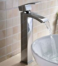Tall Waterfall Bathroom Basin Faucet Single Handle Hole Square Mixer Tap -uk