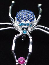BLUE PINK TEAL BUG INSECT BROWN RECLUSE BLACK WIDOW SPIDER PIN BROOCH JEWELRY