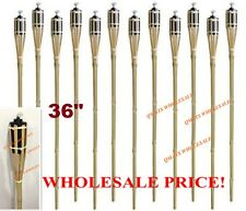 "6 Pcs 36""  NEW BAMBOO TIKI TORCHES Yard Party Garden Lamp Mosquito Metal"
